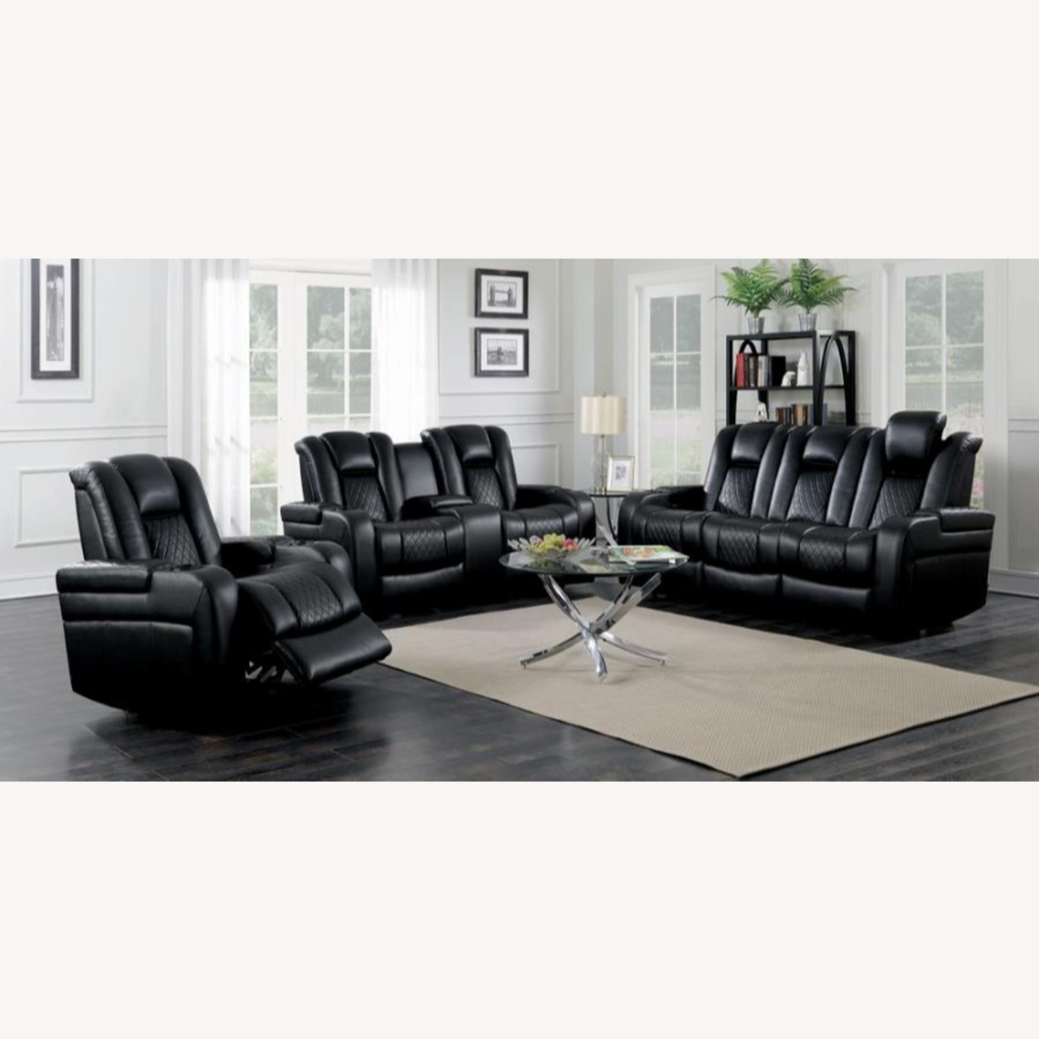 Power Sofa In Black Leather W/ LED Cupholder - image-9