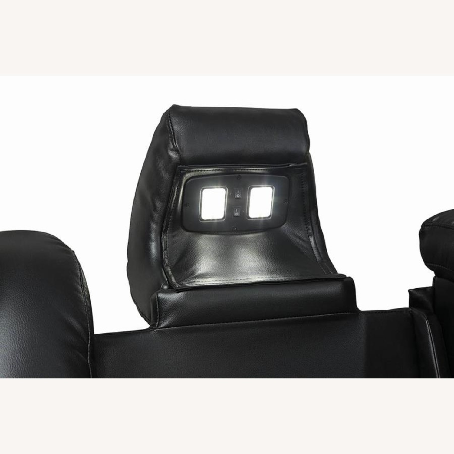Power Sofa In Black Leather W/ LED Cupholder - image-6