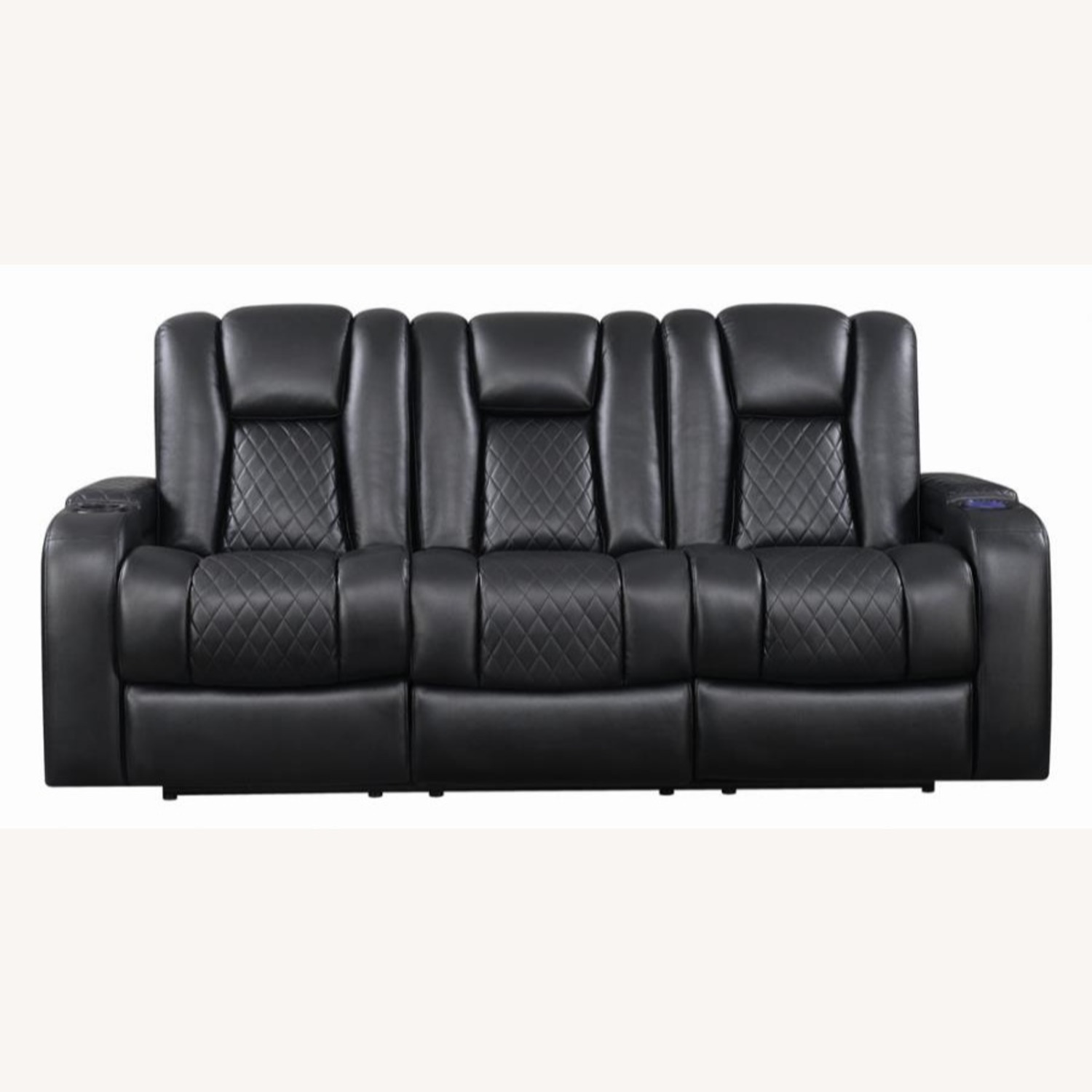 Power Sofa In Black Leather W/ LED Cupholder - image-1