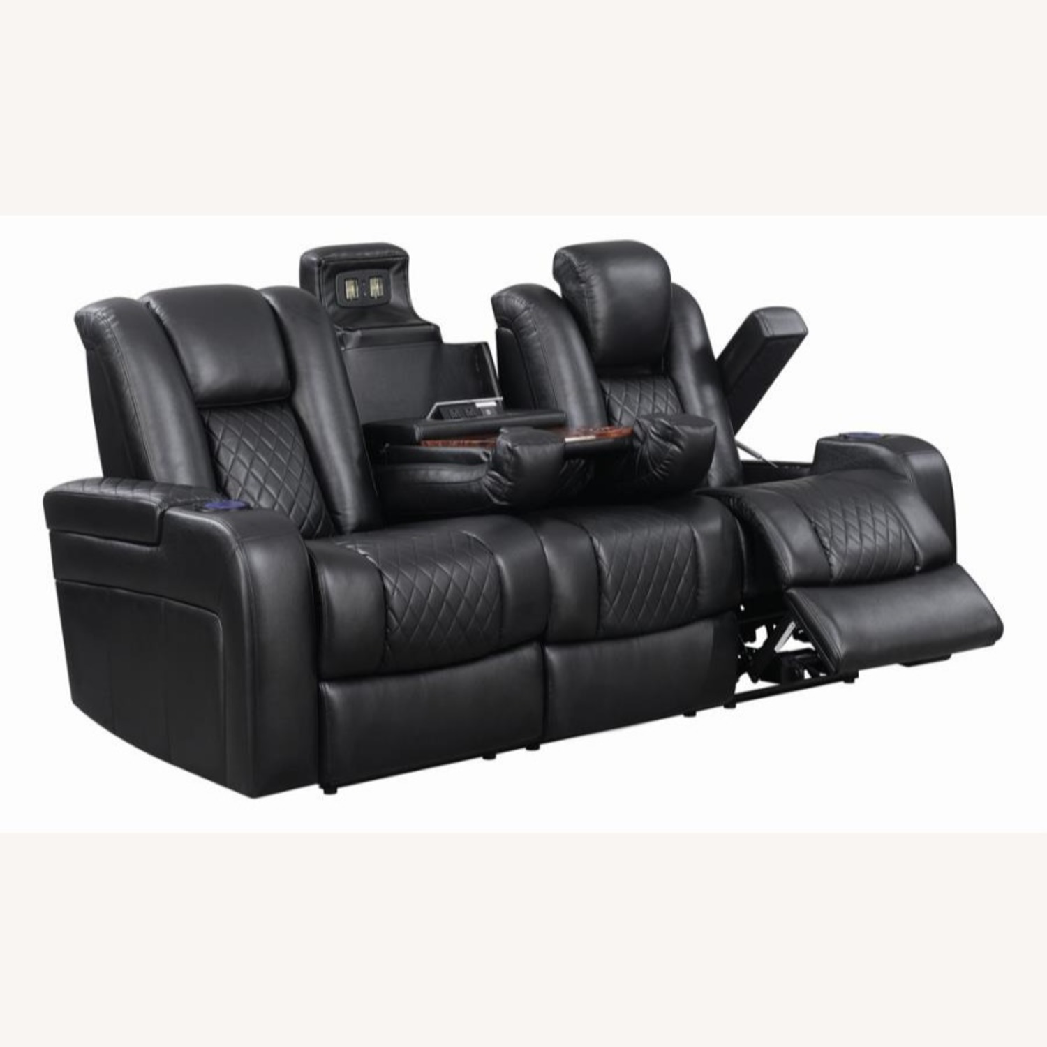 Power Sofa In Black Leather W/ LED Cupholder - image-2