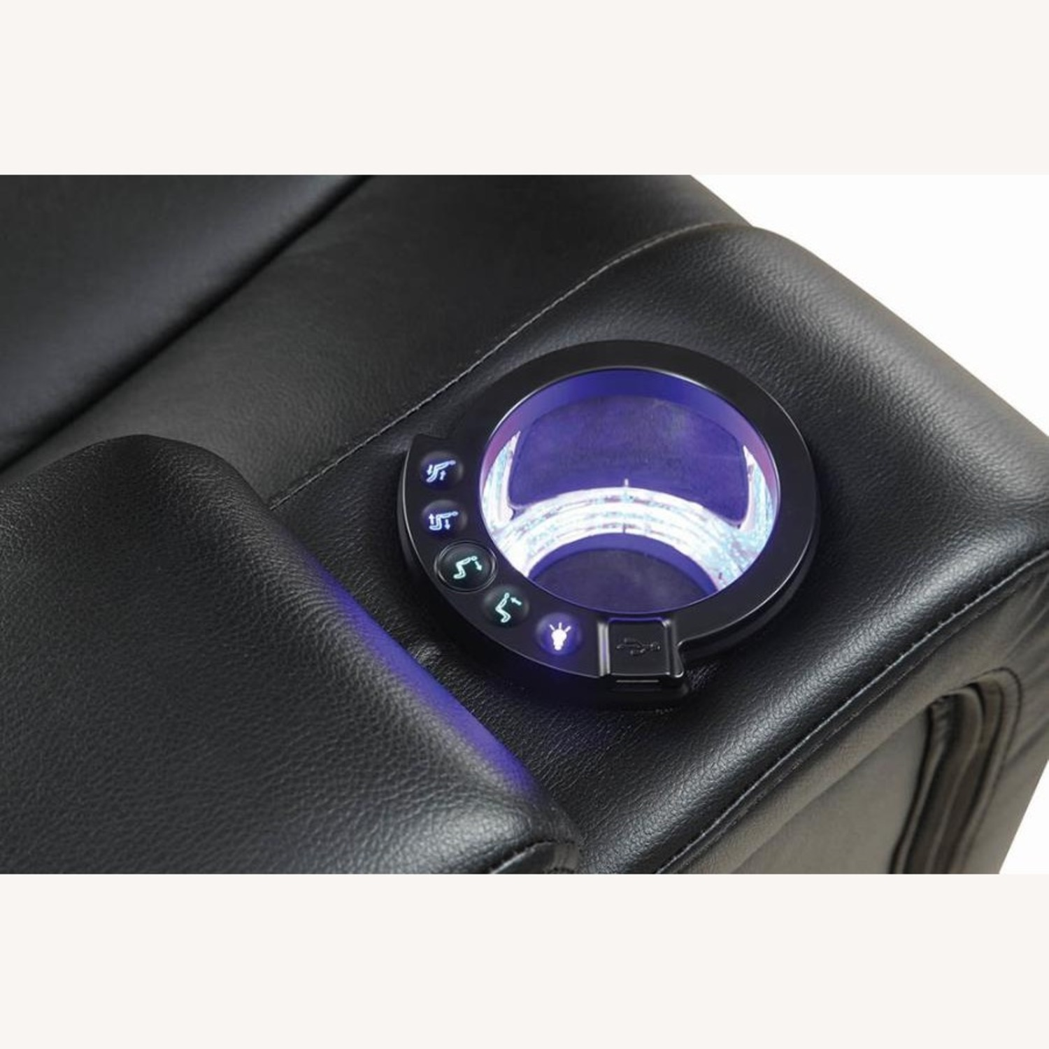 Power Sofa In Black Leather W/ LED Cupholder - image-5
