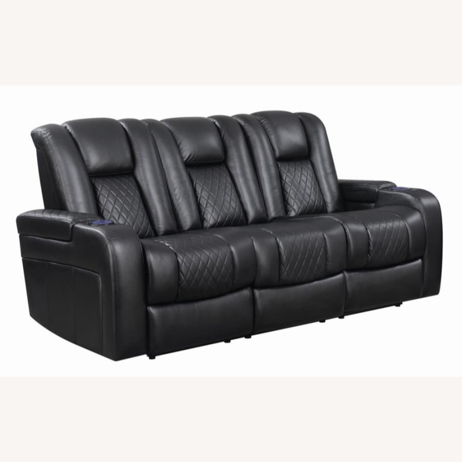 Power Sofa In Black Leather W/ LED Cupholder - image-0