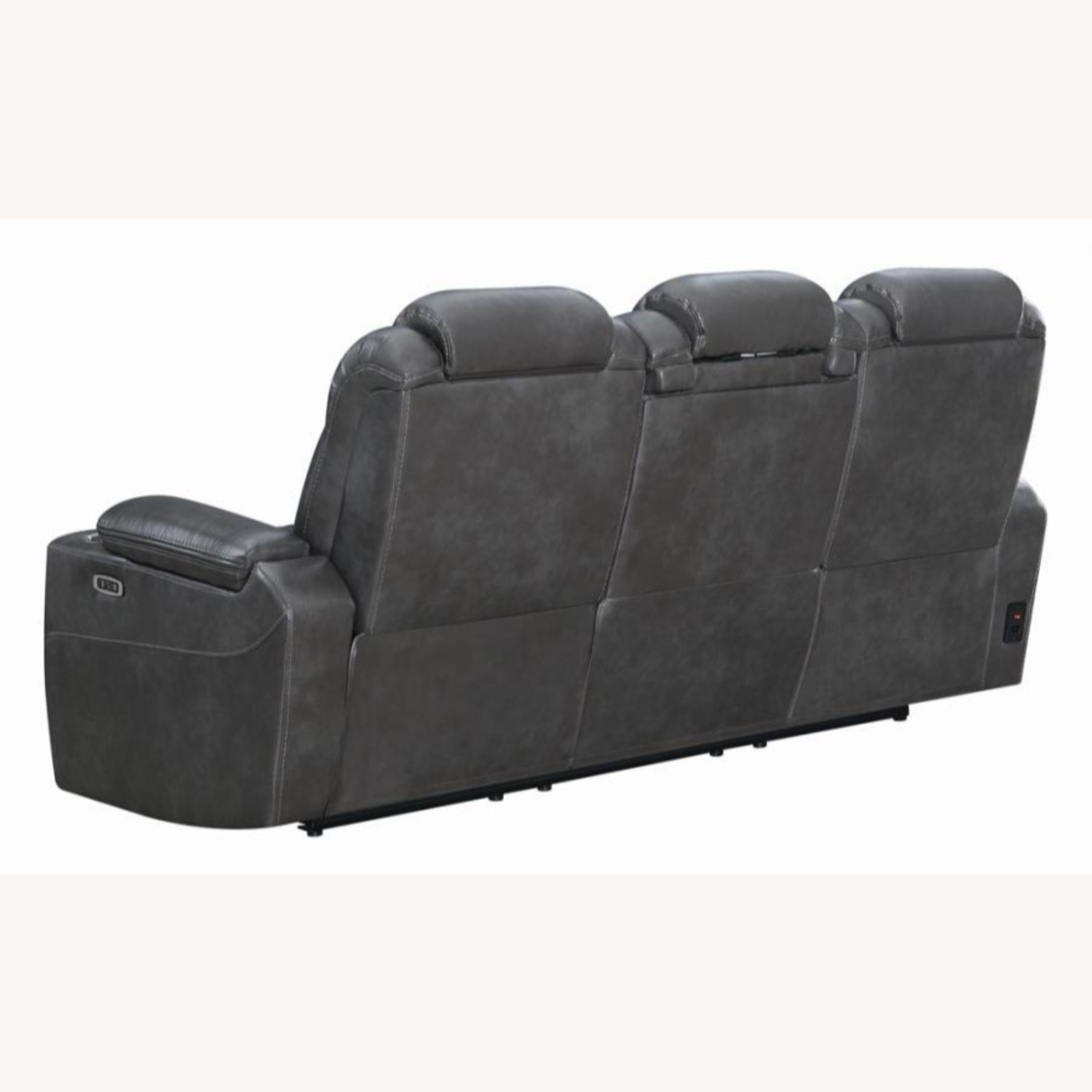 Power2 Sofa In Charcoal Leatherette - image-3