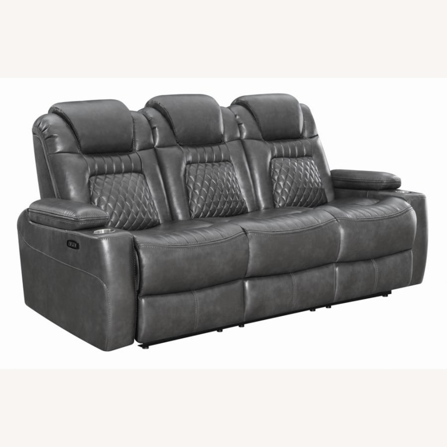 Power2 Sofa In Charcoal Leatherette - image-0