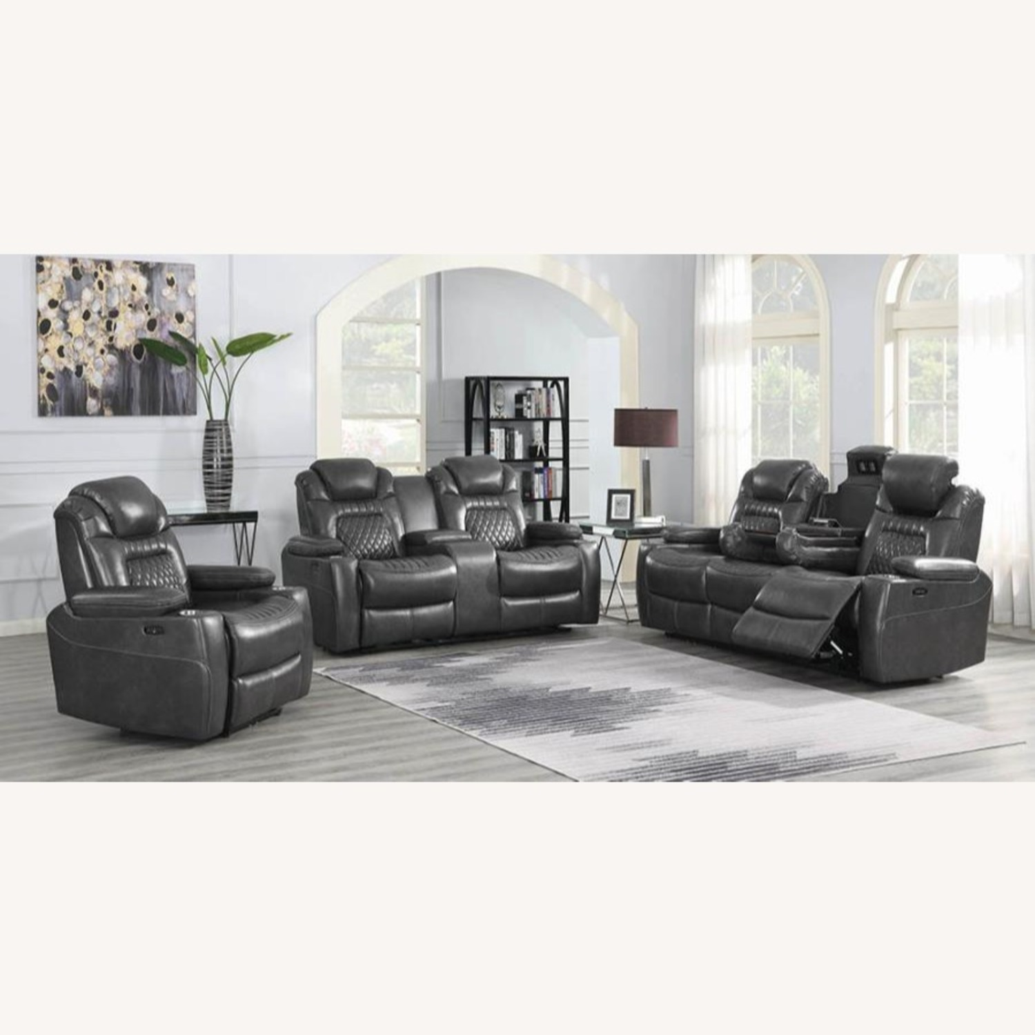 Power2 Sofa In Charcoal Leatherette - image-10