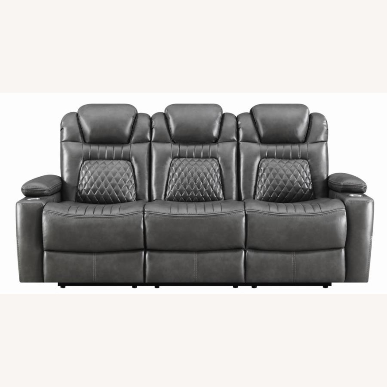 Power2 Sofa In Charcoal Leatherette - image-1