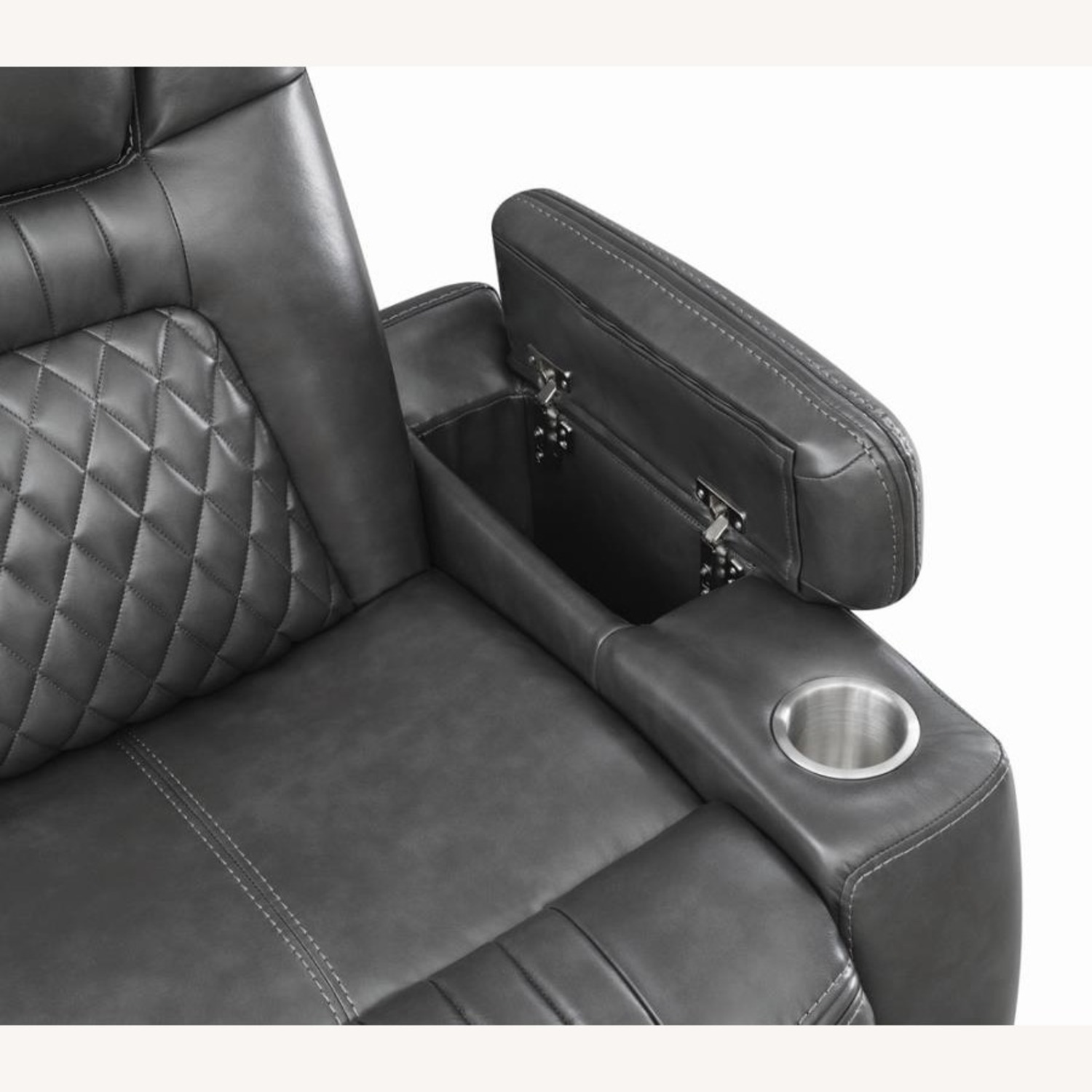 Power2 Sofa In Charcoal Leatherette - image-8