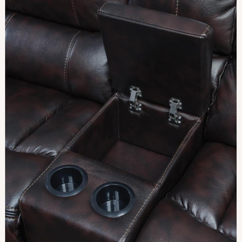 Power Motion Loveseat In Dark Brown Leatherette - image-1