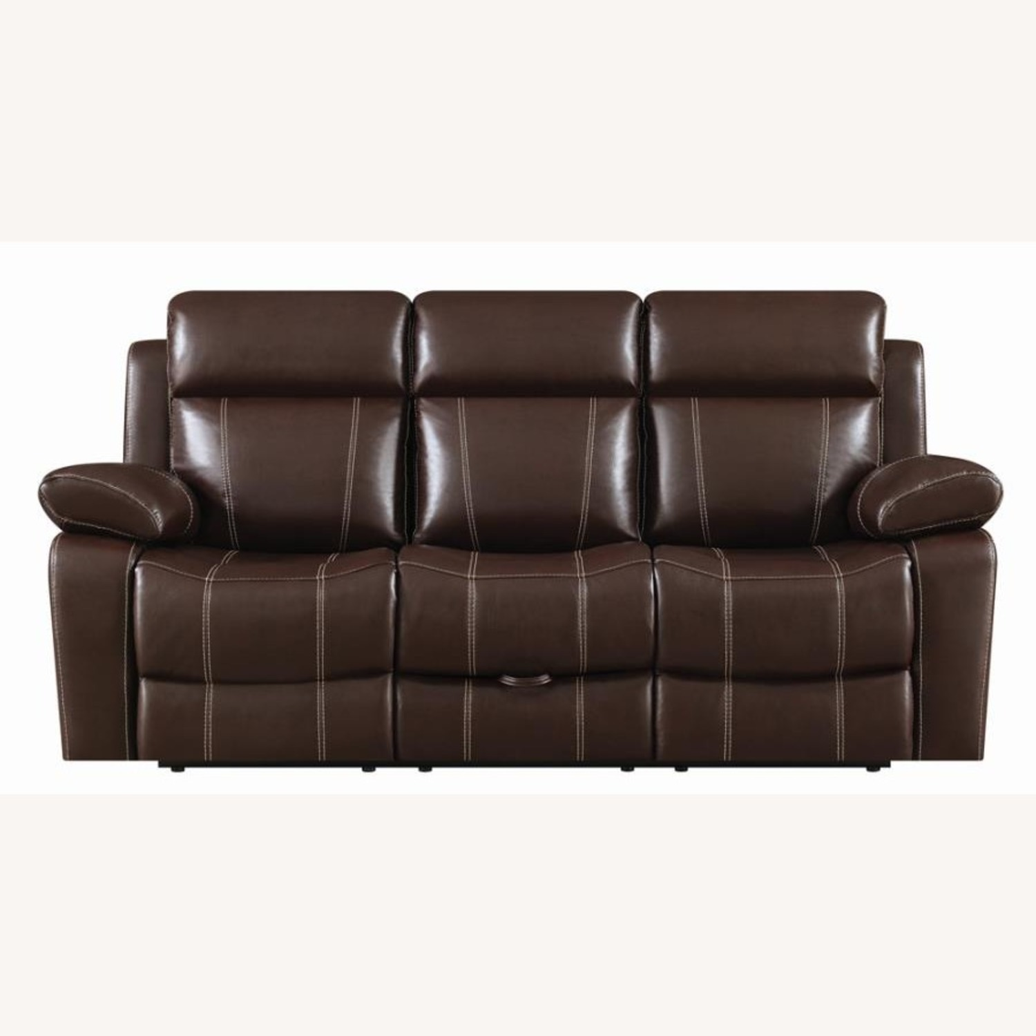 Motion Sofa In Chestnut Leather W/ Storage Drawer - image-2