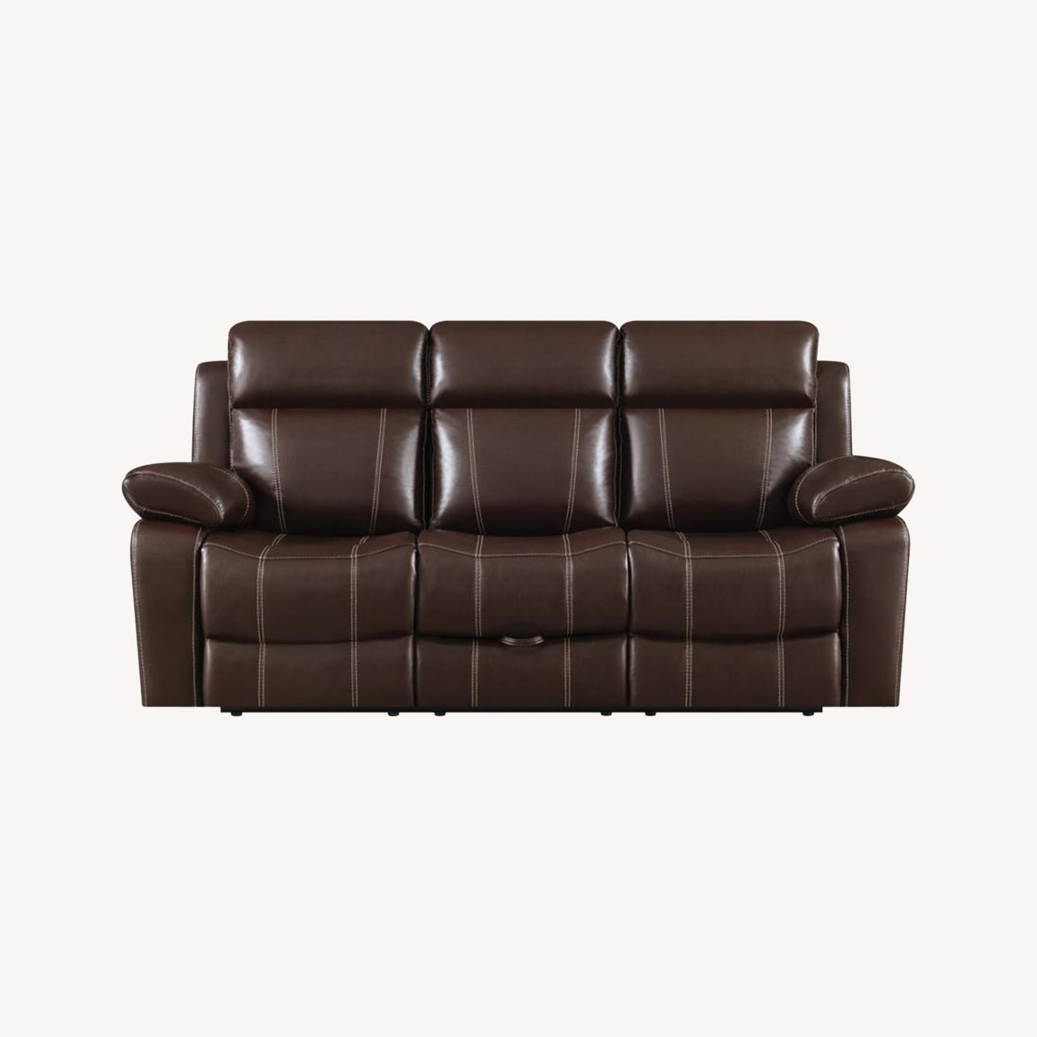 Motion Sofa In Chestnut Leather W/ Storage Drawer - image-8