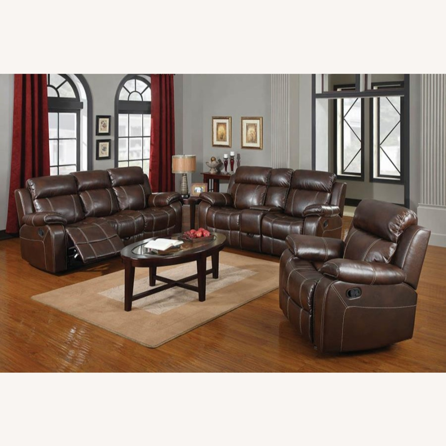 Motion Sofa In Chestnut Leather W/ Storage Drawer - image-7