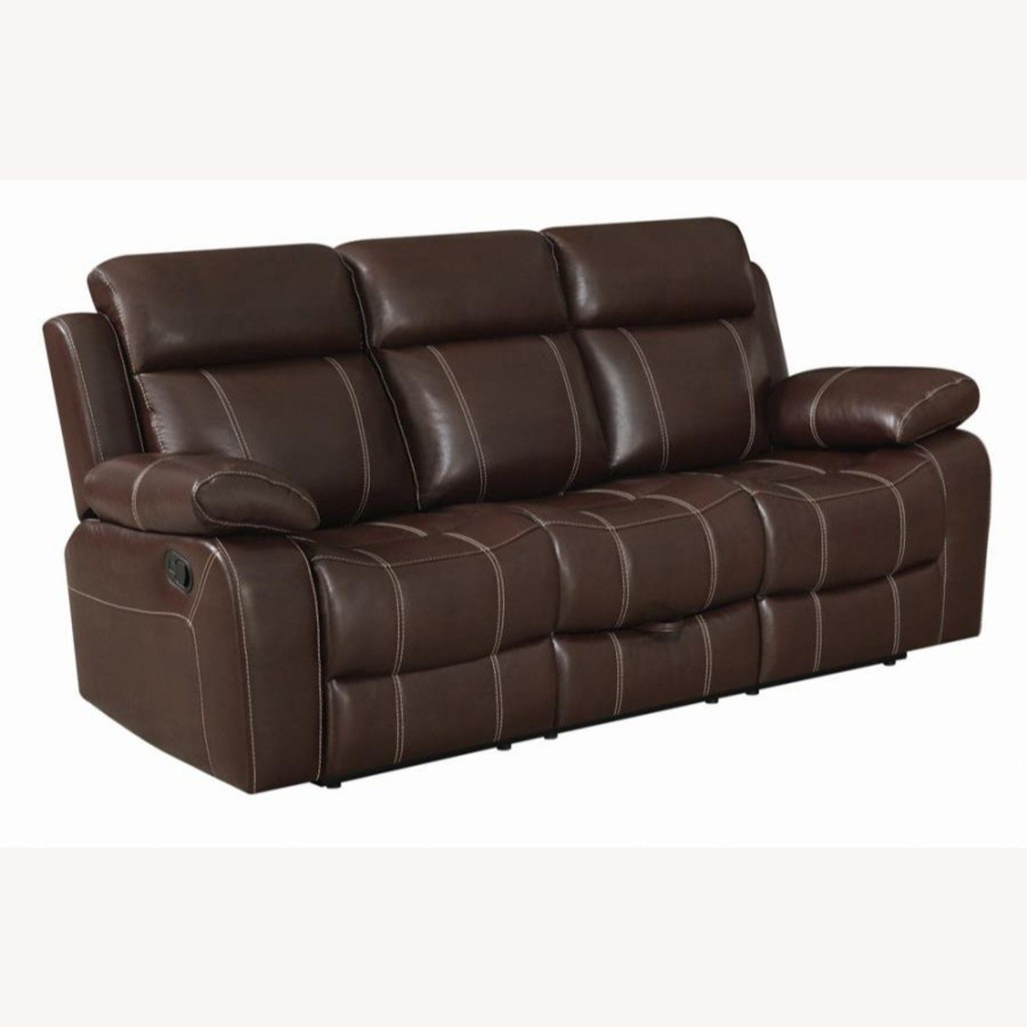 Motion Sofa In Chestnut Leather W/ Storage Drawer - image-0