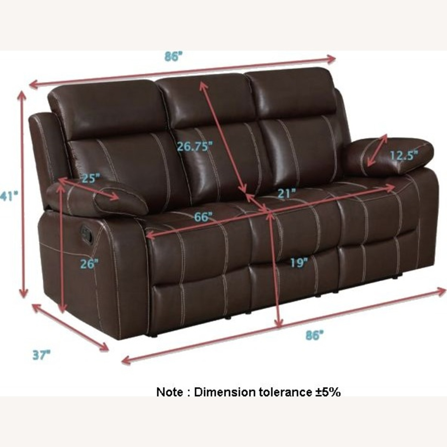 Motion Sofa In Chestnut Leather W/ Storage Drawer - image-9