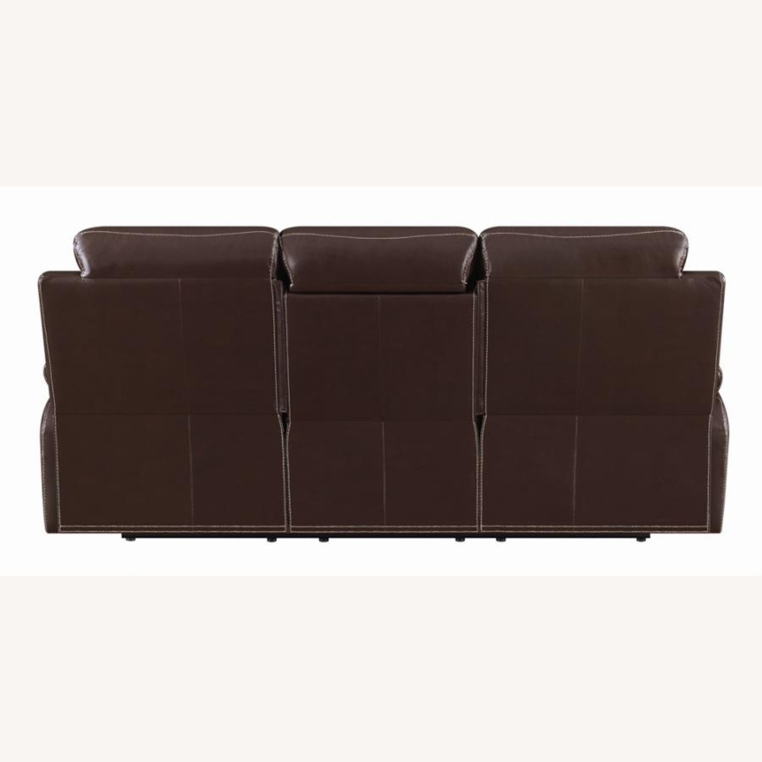 Motion Sofa In Chestnut Leather W/ Storage Drawer - image-3