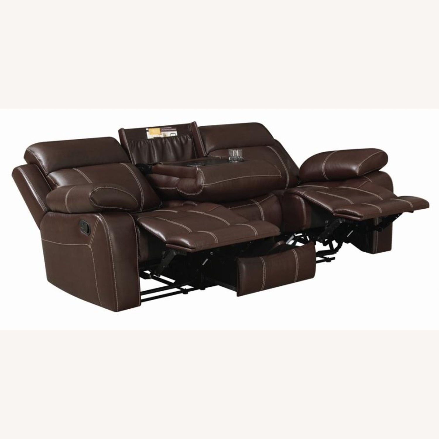 Motion Sofa In Chestnut Leather W/ Storage Drawer - image-1