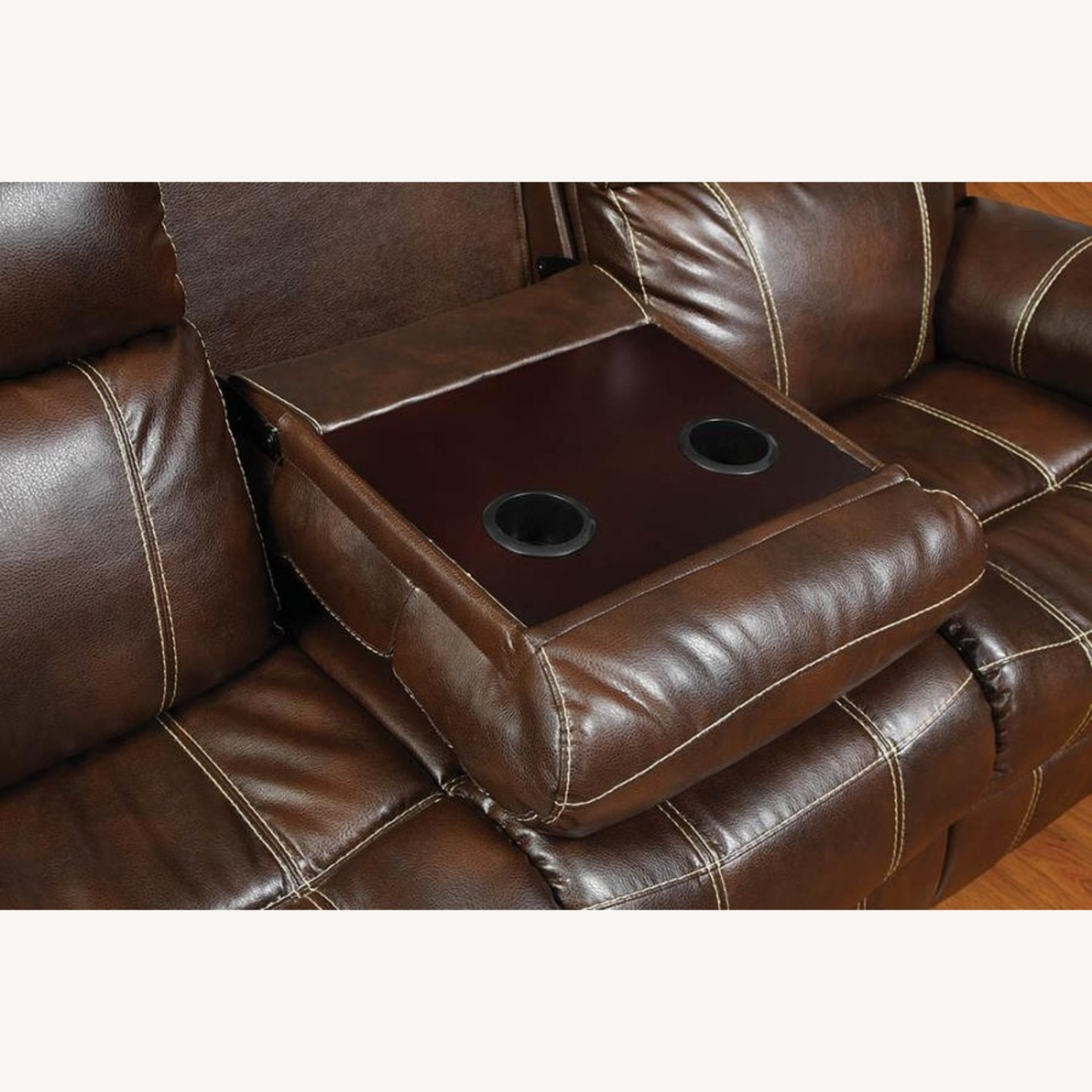 Motion Sofa In Chestnut Leather W/ Storage Drawer - image-4