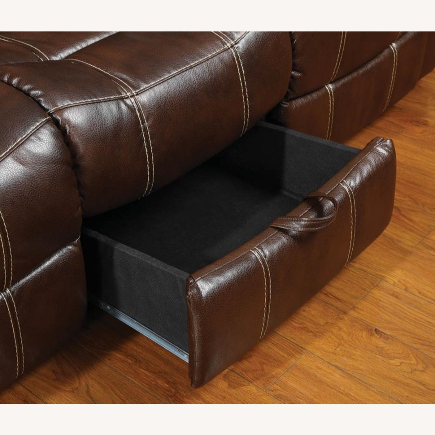 Motion Sofa In Chestnut Leather W/ Storage Drawer - image-5