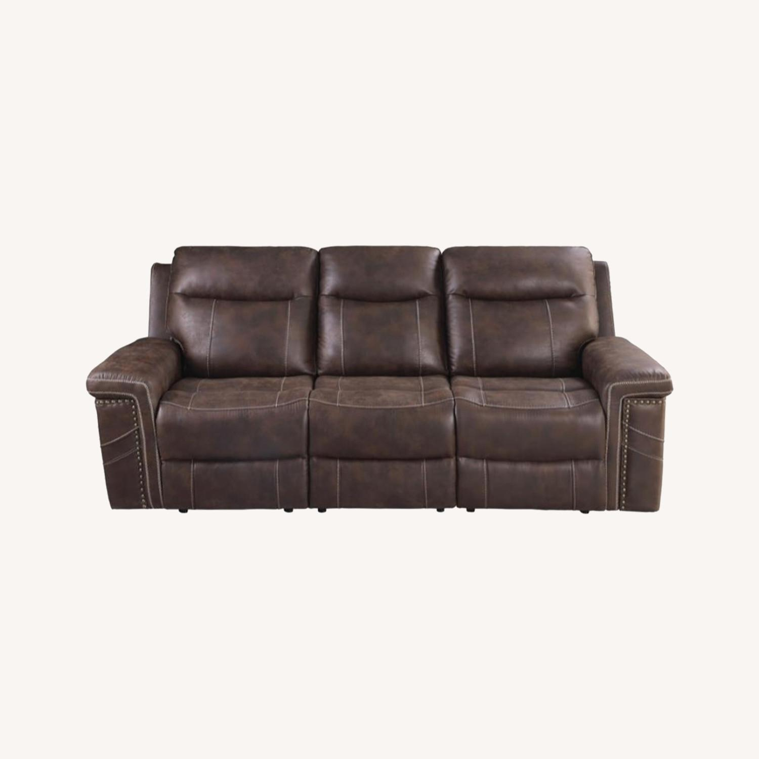 Power2 Sofa In Rich Brown Faux Suede - image-8