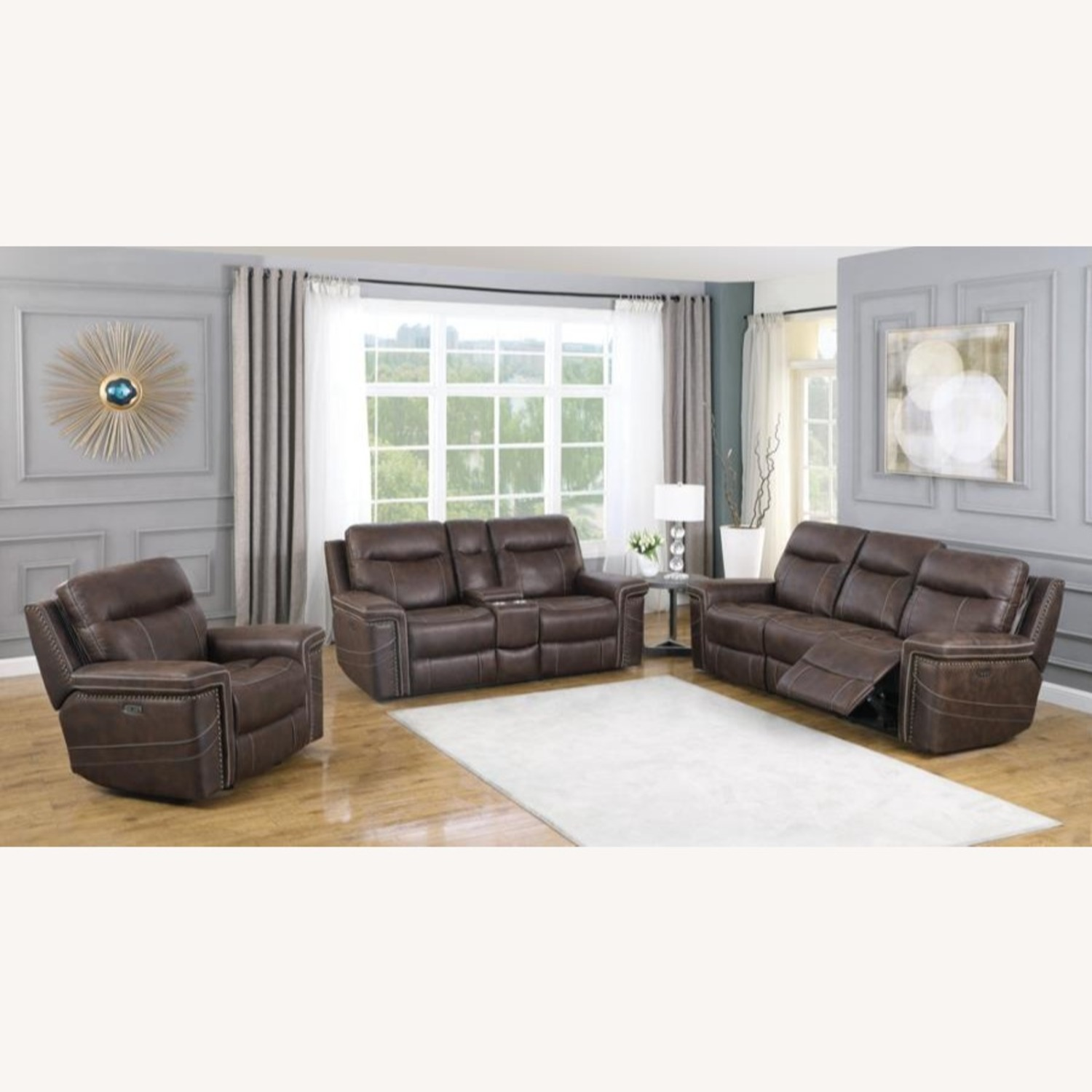 Power2 Sofa In Rich Brown Faux Suede - image-7