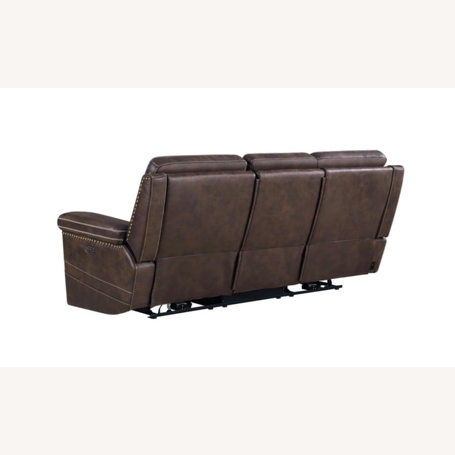 Power2 Sofa In Rich Brown Faux Suede - image-3