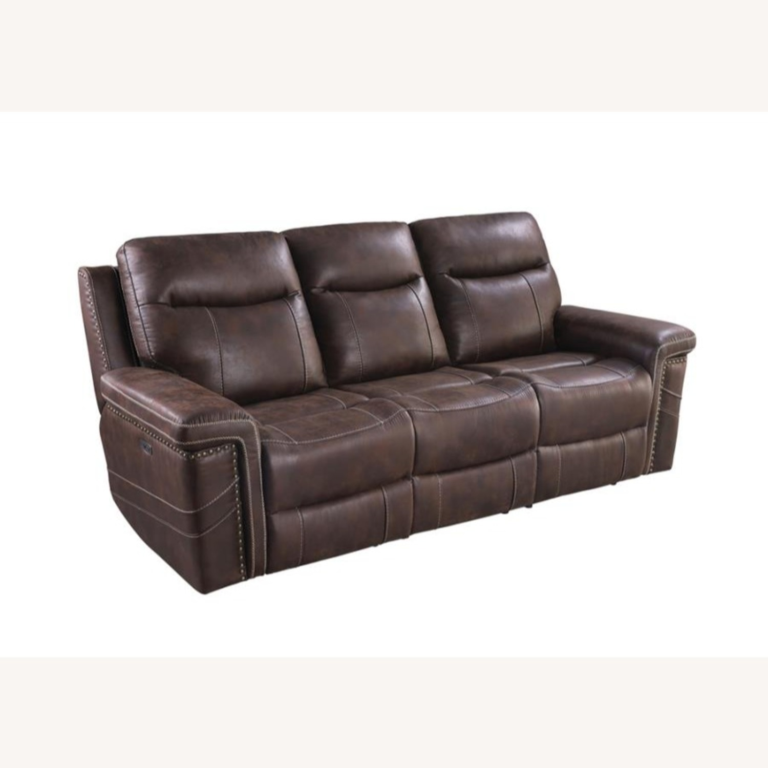 Power2 Sofa In Rich Brown Faux Suede - image-0
