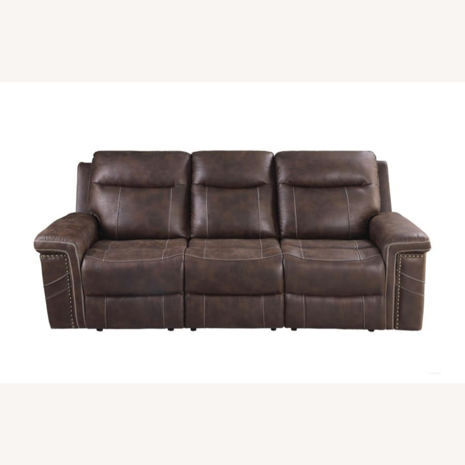 Power2 Sofa In Rich Brown Faux Suede - image-2