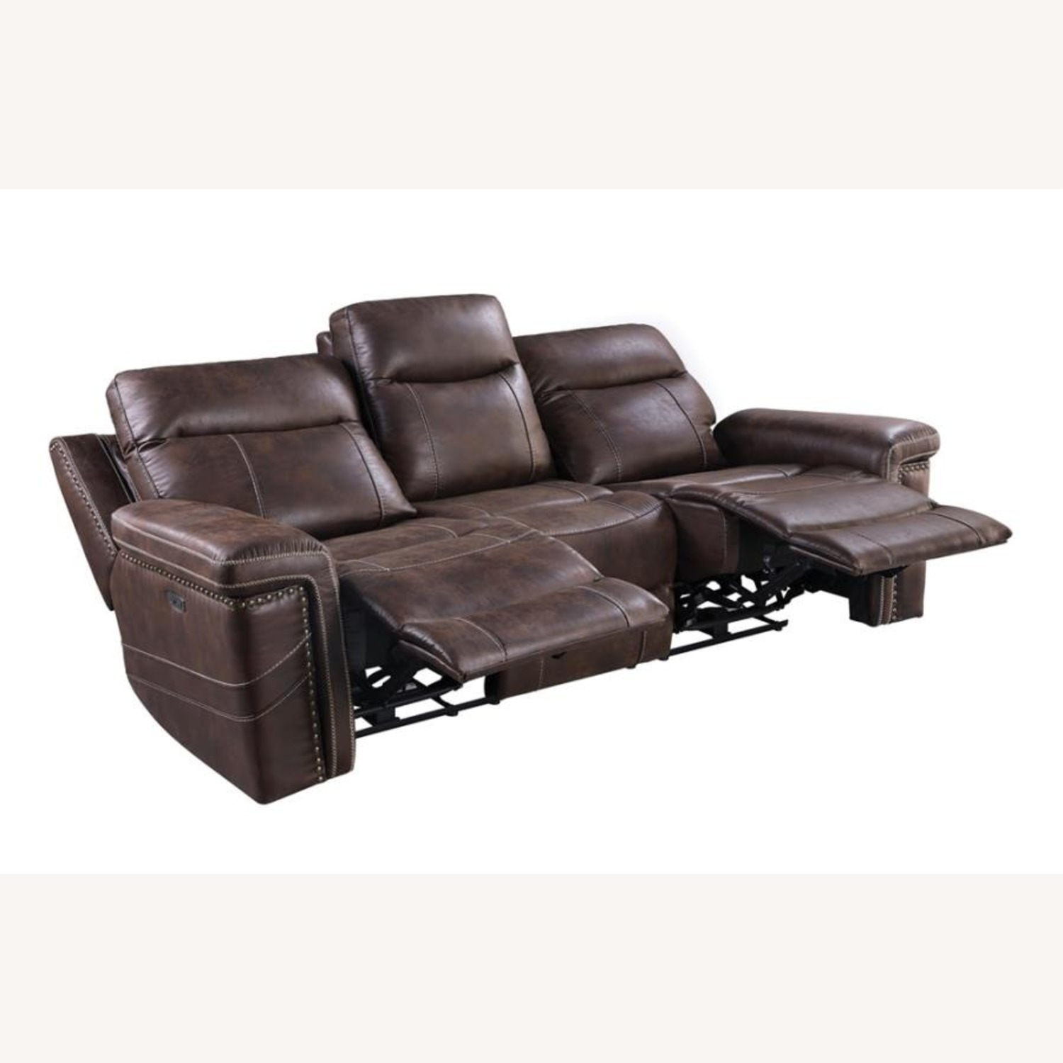 Power2 Sofa In Rich Brown Faux Suede - image-1
