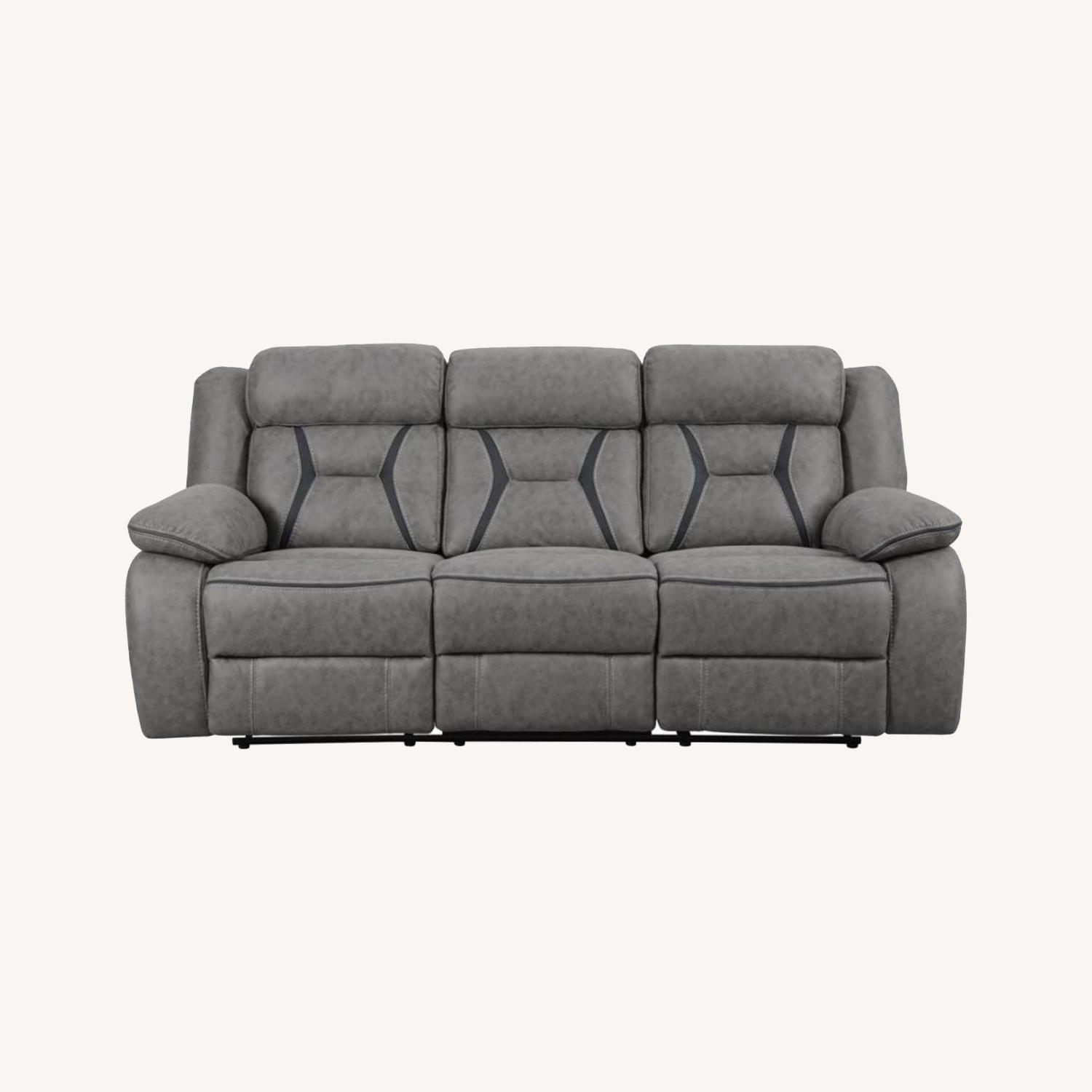 Motion Sofa In Grey Suede W/ Wall Hugger Mechanism - image-6