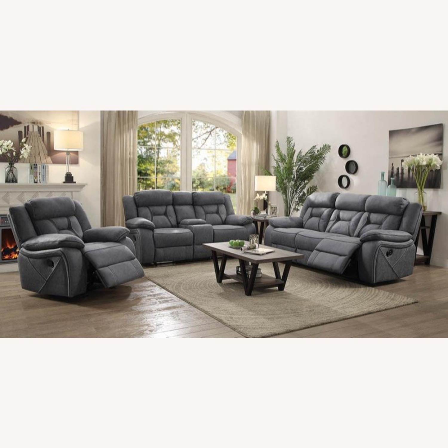 Motion Sofa In Grey Suede W/ Wall Hugger Mechanism - image-5