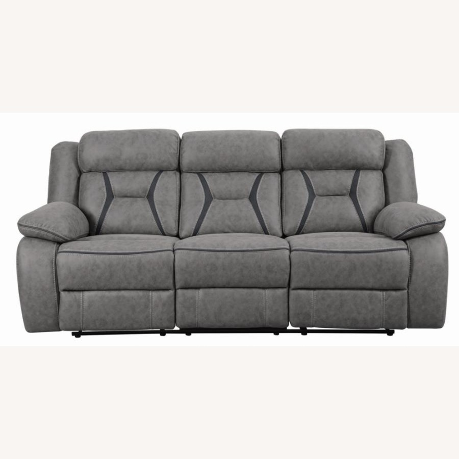 Motion Sofa In Grey Suede W/ Wall Hugger Mechanism - image-1