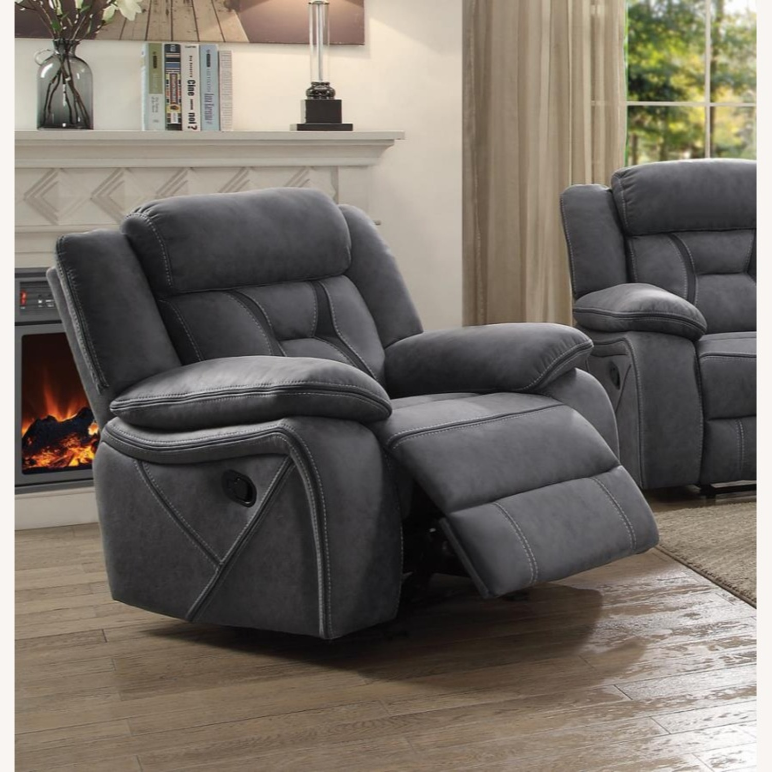 Glider Recliner Chair In Grey Suede Fabric - image-4