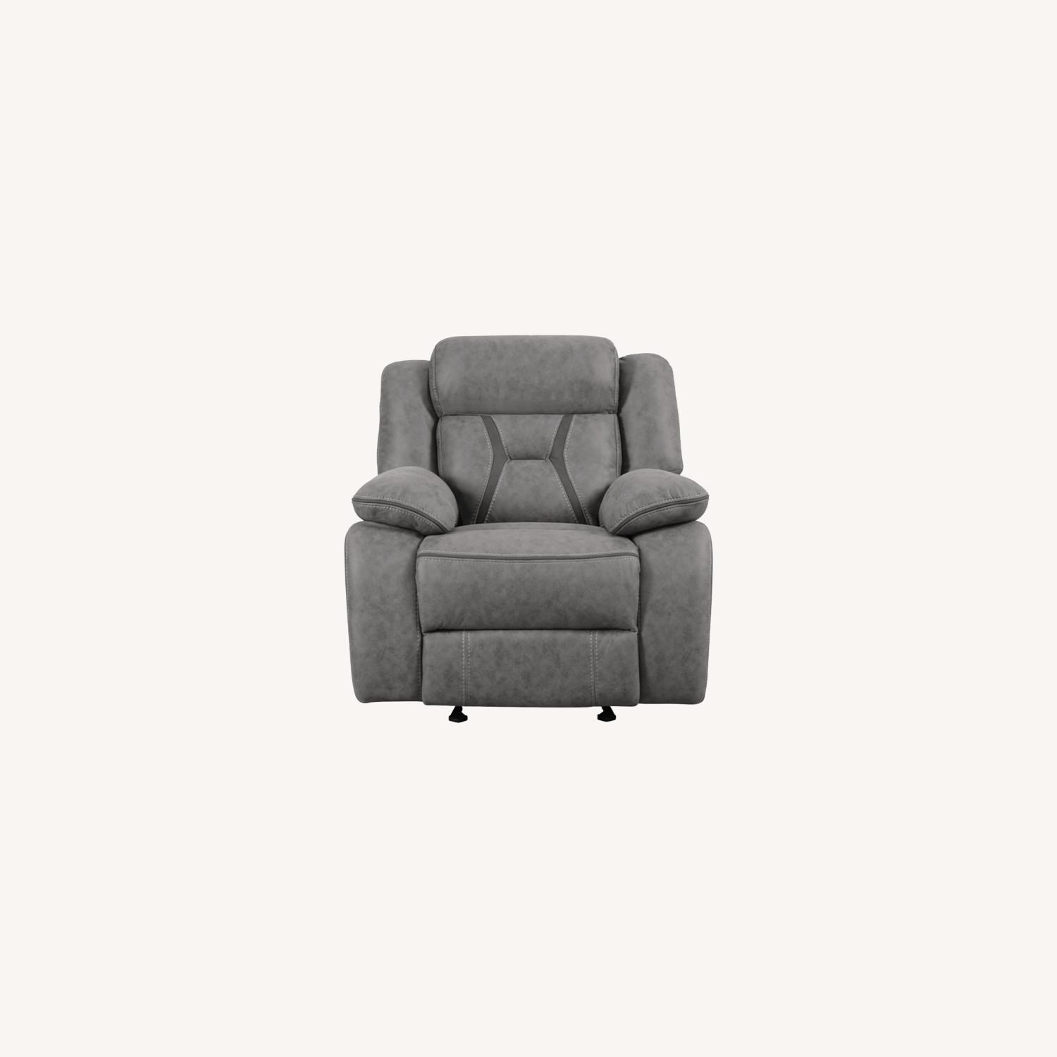 Glider Recliner Chair In Grey Suede Fabric - image-6