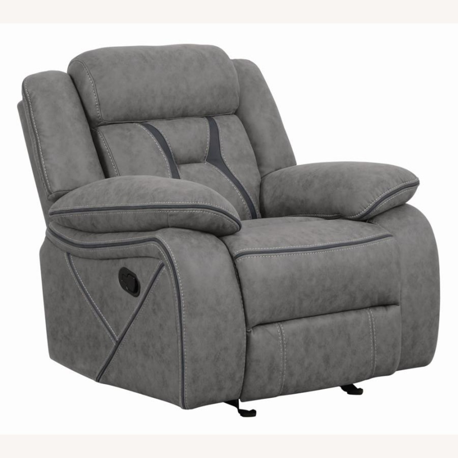 Glider Recliner Chair In Grey Suede Fabric - image-1