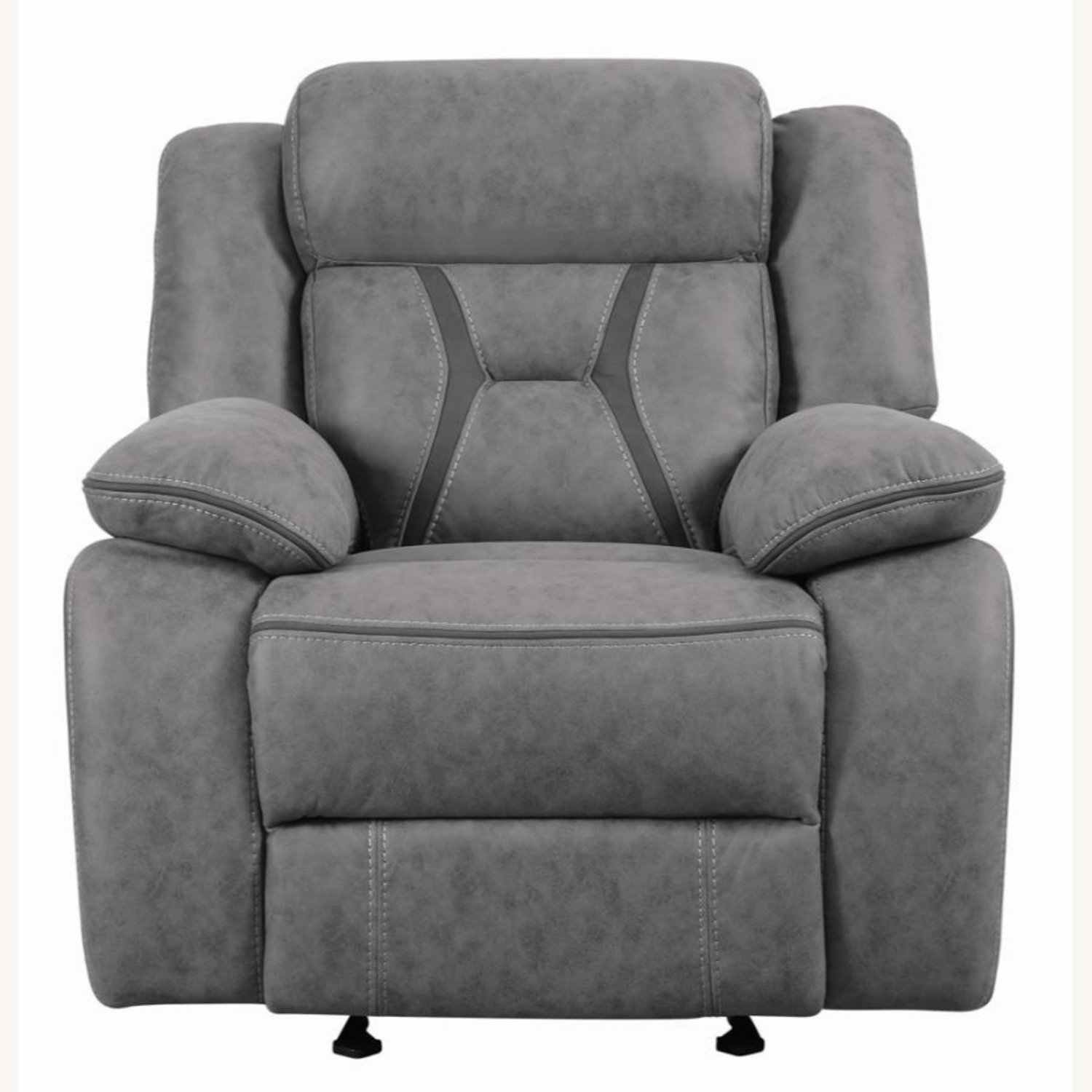 Glider Recliner Chair In Grey Suede Fabric - image-0