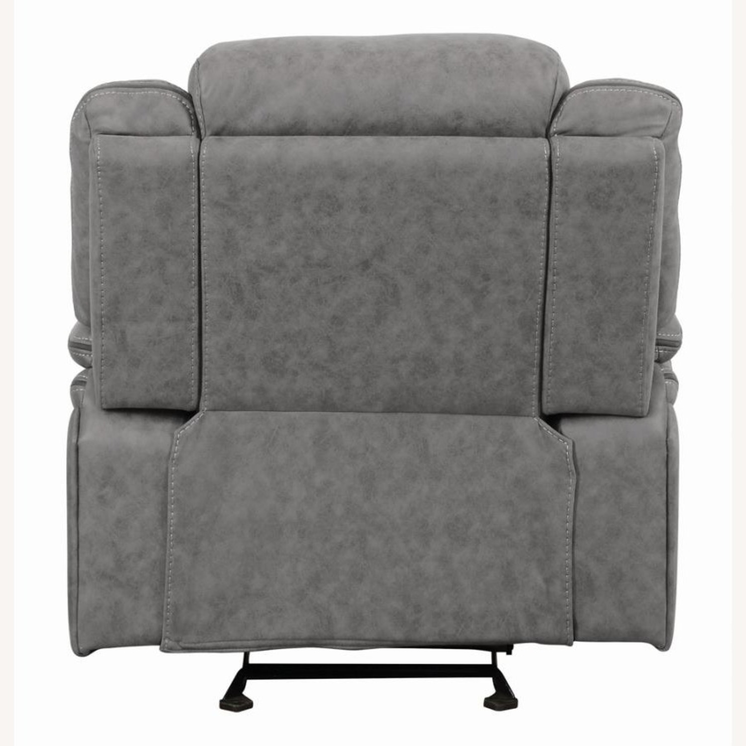 Glider Recliner Chair In Grey Suede Fabric - image-2