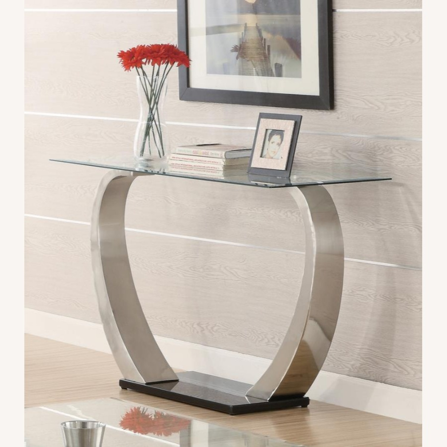 Sofa Table In Satin Finish W/ Glass Top - image-1