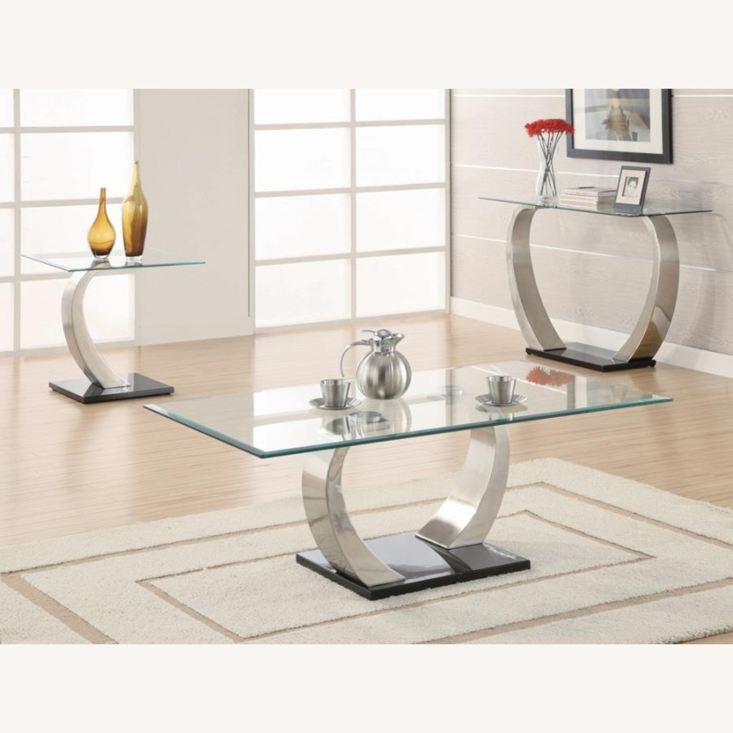 Sofa Table In Satin Finish W/ Glass Top - image-2