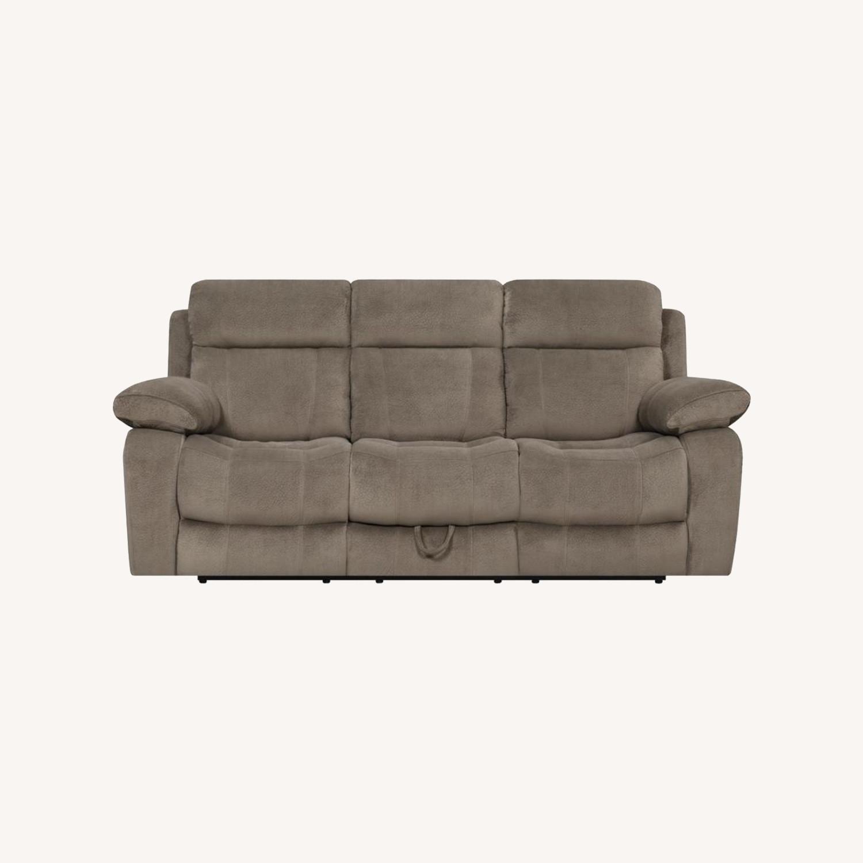 Motion Sofa In Mocha Textured Velvet Fabric - image-6