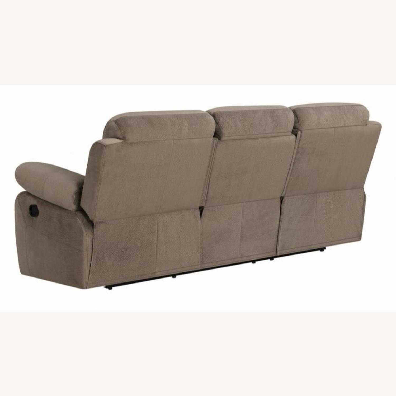 Motion Sofa In Mocha Textured Velvet Fabric - image-2