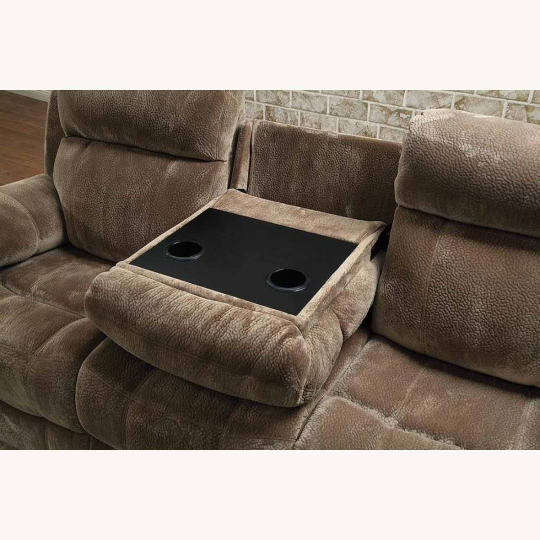 Motion Sofa In Mocha Textured Velvet Fabric - image-3