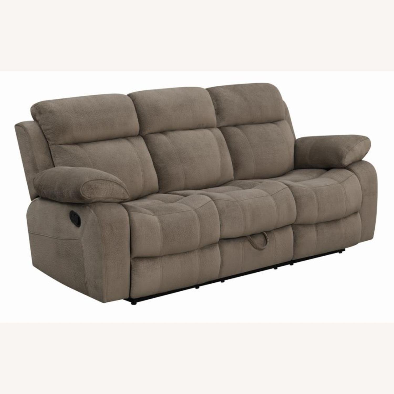 Motion Sofa In Mocha Textured Velvet Fabric - image-0