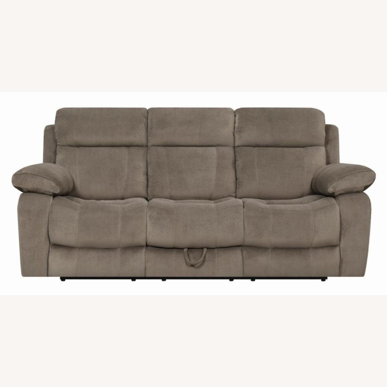 Motion Sofa In Mocha Textured Velvet Fabric - image-1