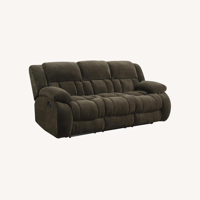Motion Sofa In Chocolate Fabric W/ Storage - image-4