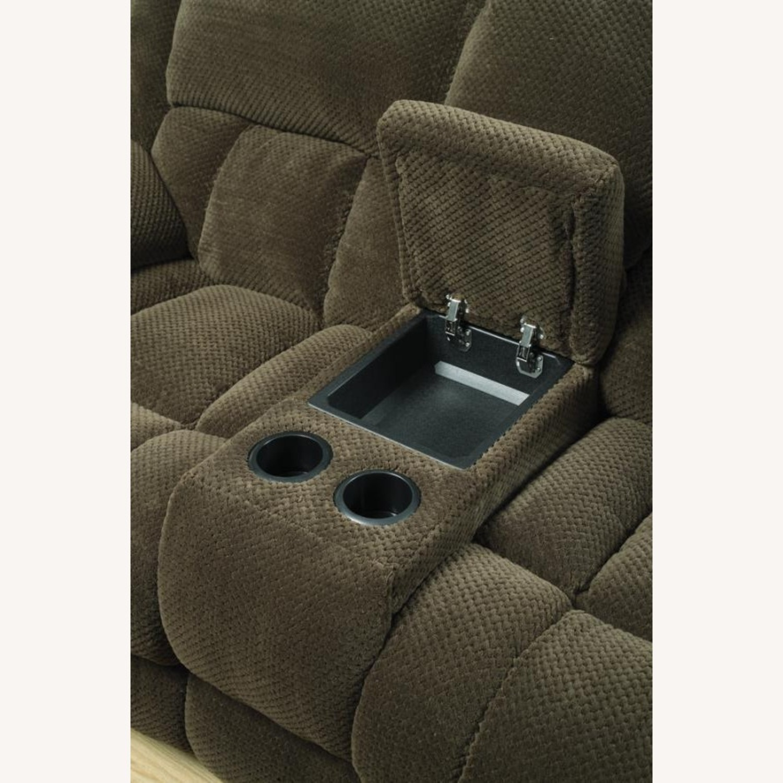 Motion Sofa In Chocolate Fabric W/ Storage - image-1