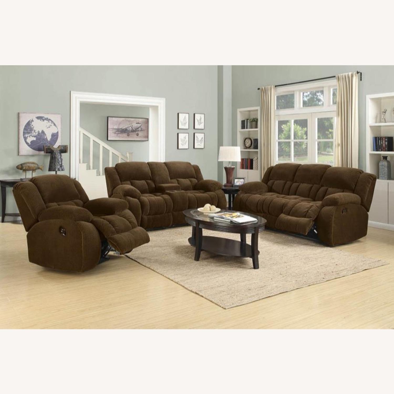 Motion Sofa In Chocolate Fabric W/ Storage - image-3
