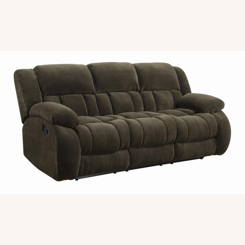 Motion Sofa In Chocolate Fabric W/ Storage - image-0