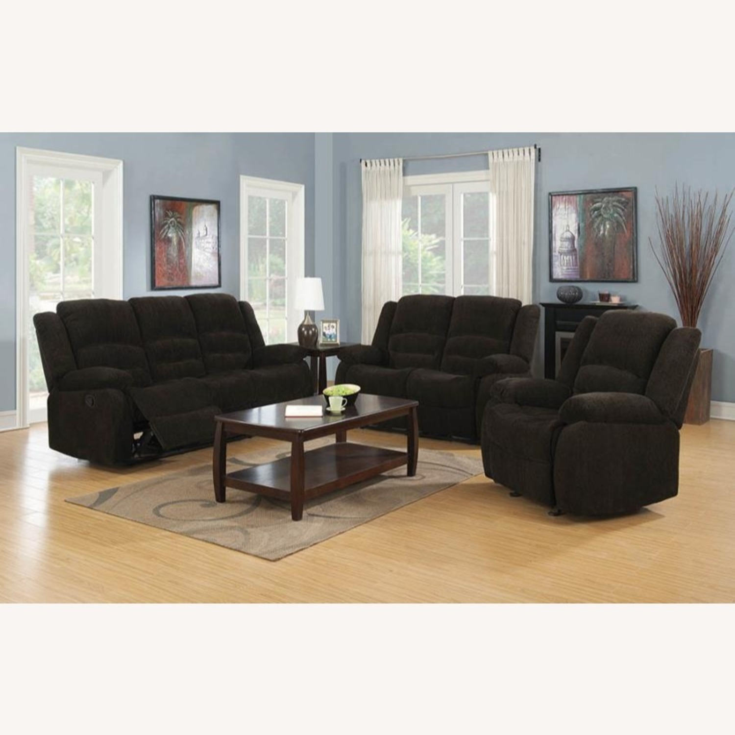 Motion Sofa In Chocolate Chenille W/ Wall Hugger - image-2