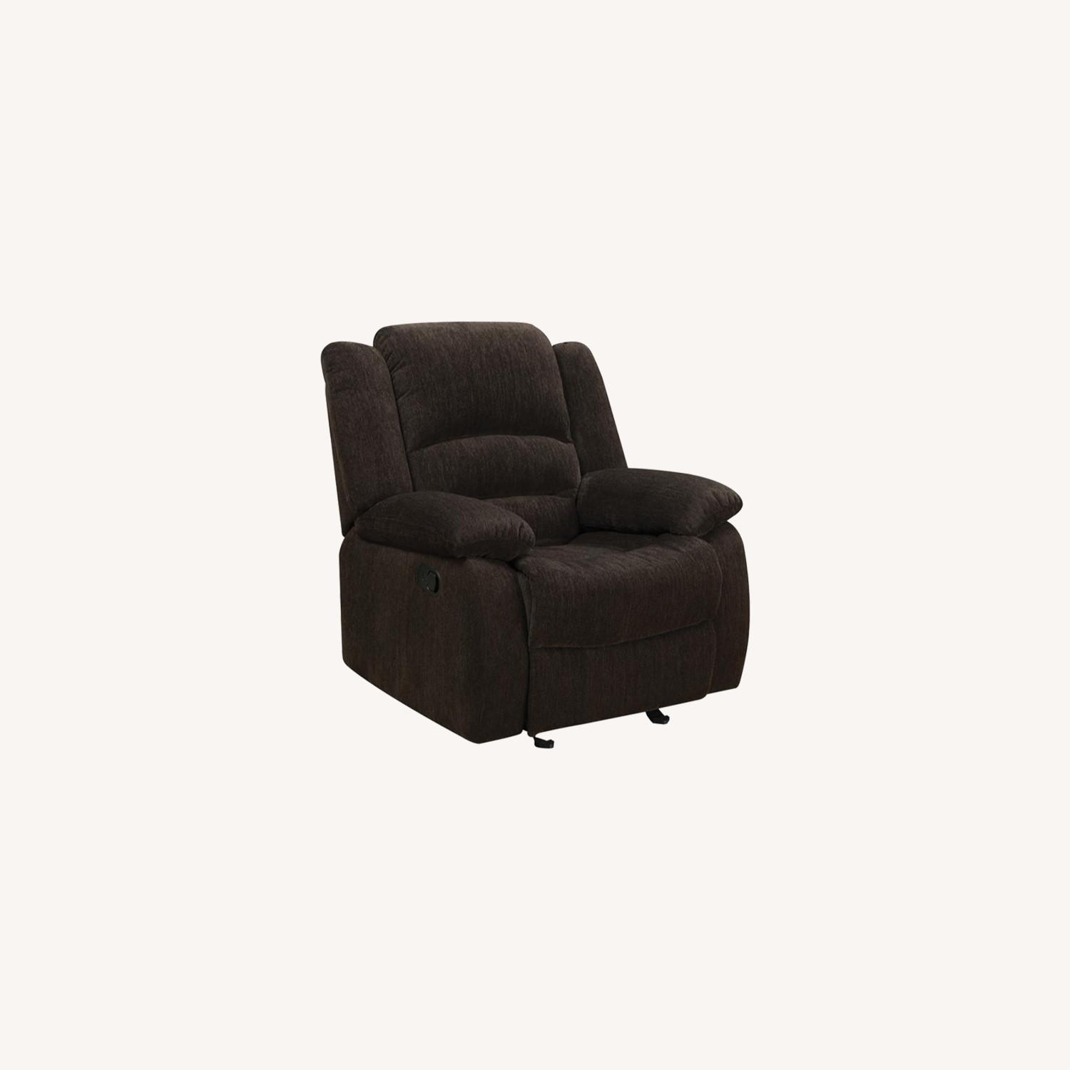 Glider Recliner In Chocolate Chenille Fabric - image-4