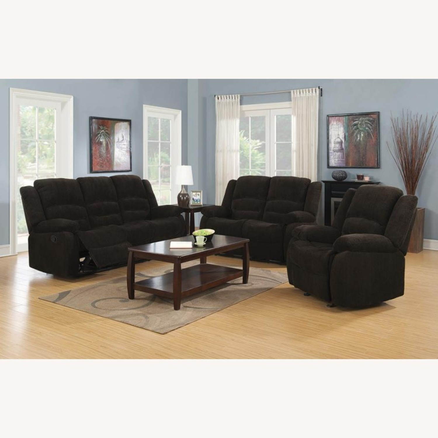 Glider Recliner In Chocolate Chenille Fabric - image-3