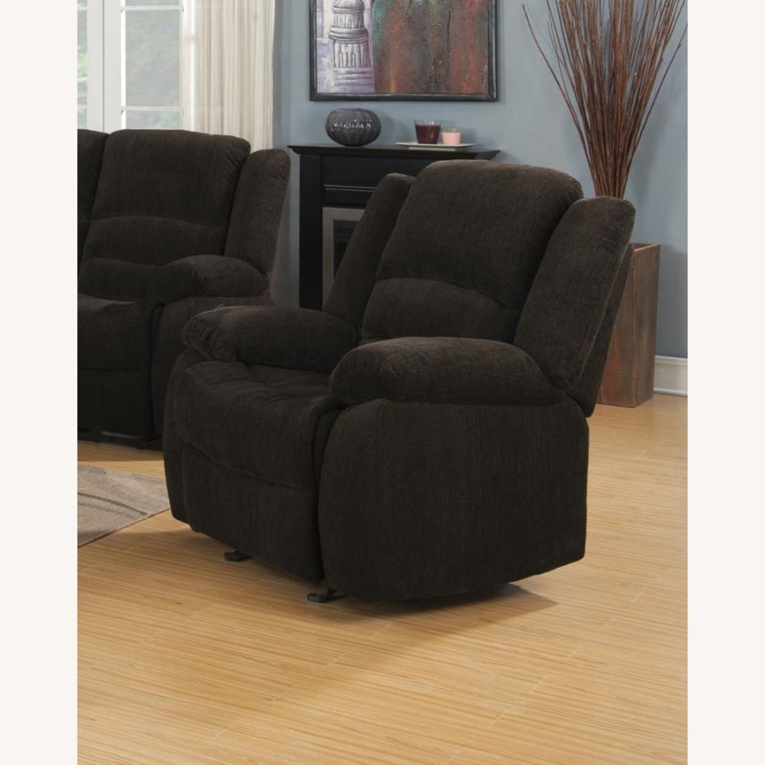 Glider Recliner In Chocolate Chenille Fabric - image-2